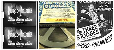 """Super 8mm Sound Film: THE THREE STOOGES """"Micro-Phonies"""" (1945) EXCELLENT 400 ft"""