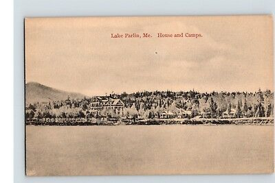 posted postcard LAKE PARLIN ME maine HOUSE & CAMPS  h.p. mckenney
