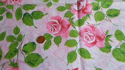 Vintage Antique Cotton Fabric 30s Quilt Pink Rose Flowers Green Leaves Brushed