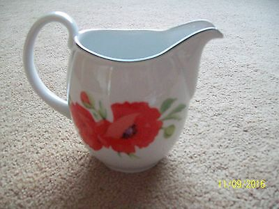 Royal Worcester Fine Porcelain Jug White with Red Flowers excellent condition