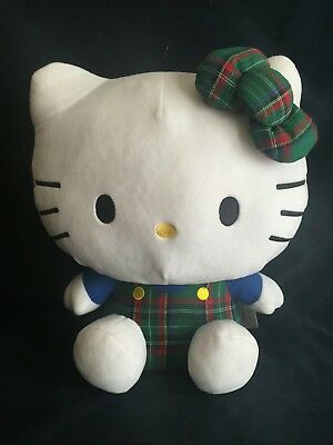 Hello Kitty Plaid Green and Blue Plush NEW - MEDIUM MED Size Sanrio