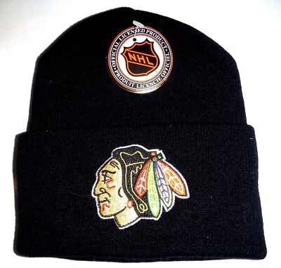 40c4d9bda7429 CHICAGO BLACKHAWKS AUTHENTIC Vintage Black Beanie Knit Hat Logo 7 ...