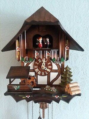 Vtg Schneider Wood German Musical Cuckoo Clock Water Wheel Dancers Edelweiss