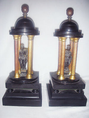 19Th Century Pair Grand Tour Black Marble Temples