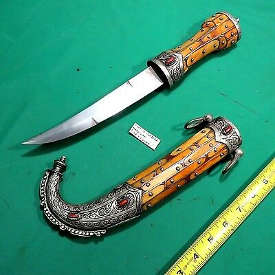 Moroccan Handmade Jambiya Decorative  Knife Bone & Silver Arabian Dagger