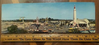 "DISNEYLAND Panorama Postcard Magic Kingdom Tomorrowland Skyride 11"" X 3.5"""