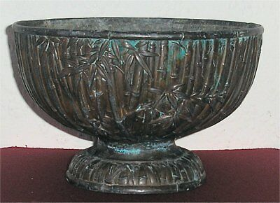 Japanese 18th/19th Cent Patinated Bronze Bowl Censer Bamboo Design