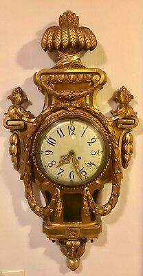 Large Swedish Gustavian Giltwood Antique Wall Clock With Lenzkirch Movement