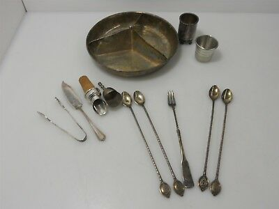 Vintage Silver Plate Bar and Snack items Lot: 11 Items