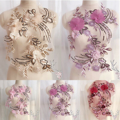 3D Lace Flower Embroidery Bridal Applique Beaded Pearl Tulle DIY Wedding Dress