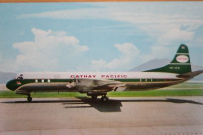 AK Airliner Postcard CATHAY PACIFIC Electra airline issue