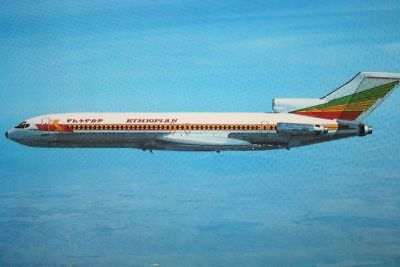 AK Airliner Postcard ETHIOPIAN B.727 airline issue