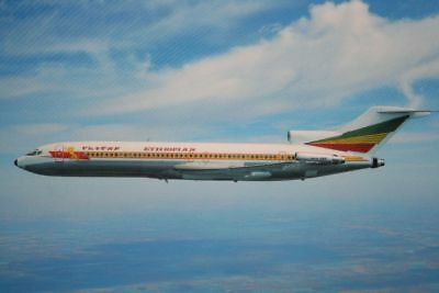 AK Airliner Postcard ETHIOPIAN B.727 airline issue I