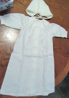 Embroidered And Lace Baby  Christening Gown With Bonnet..soft Feels Like Flannet