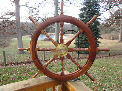 """Vintage Large Ships Wooden And Brass Steering Wheel. 41"""" Tall"""
