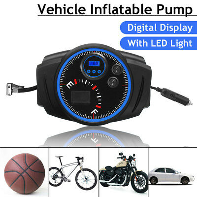 Portable 12V Car Vehicles Digital Tyre Tire Inflator Air Compressor Pump & Light