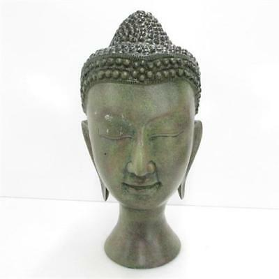 "Decorative Metal 16"" Buddha Head Bust Statue Made in India"