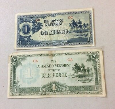 Ww2 Japanese Government Invasion Money Oceania One Pound & Shilling Banknote