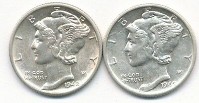 1940-S & 1942-D Mercury 90% Silver Dimes Winner Takes Both Coins - FREE Shipping