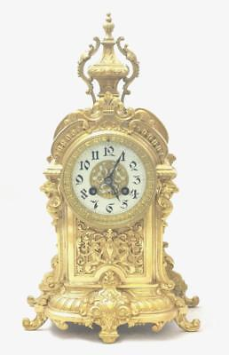 Stunning Antique French 1870's Embossed Gilt Bronze Mantle Clock by Japy Freres