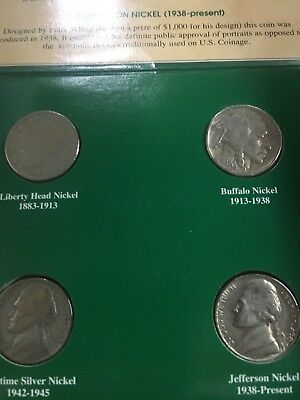 Four Nickel Coins Liberty Buffalo Wartime Silver Jefferson