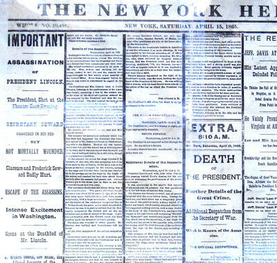 Framed 1893 reprint April 15, 1865 NY Herald: A. Lincoln Assassination newspaper