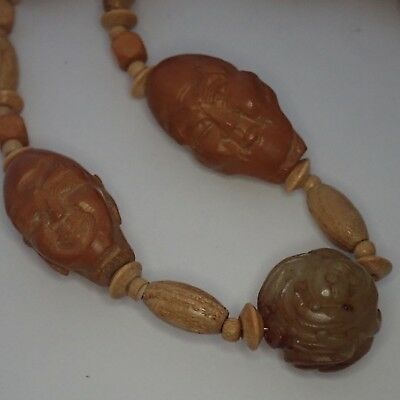 Vintage Chinese Carved Hardstone Wood Buddha Head Bead Necklace
