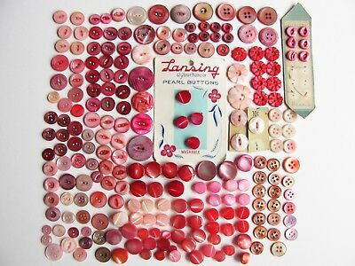 Large Lot Dyed MOP Mother of Pearl Shell Buttons Red Pink Violet Scarlet Carved