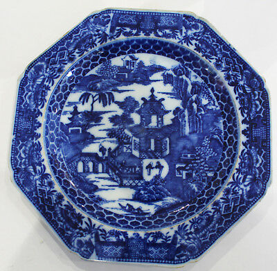 Antique English Blue & White Transfer Ware Octagonal Plate Pottery