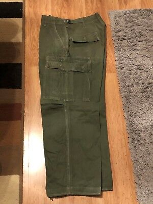 Vintage 60s US Army Vietnam OG 107 Poplin Combat Tropical Jungle Trousers Small