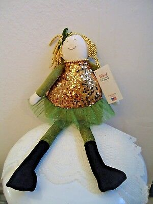 """Woof and Poof: 21"""" Gold & Green Doll Mint With Tag ..Button 2015 w/tag XM-303-18"""