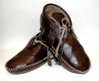 Brown leather Soft Moccasins women low boot fringe Western Indian lace up all sz
