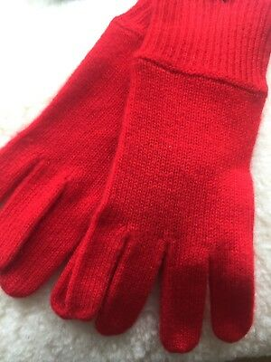 LADIES MARKS AND SPENCER AUTOGRAPH RED PURE CASHMERE GLOVES ONE SIZE Rrp £39.50
