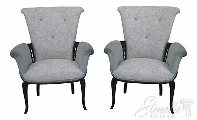 46437EC: Pair French Style Carved Upholstered Fireside Chairs