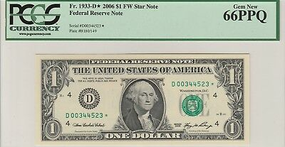 "2006 $1 *Star Note* Federal Reserve Note ""PCGS Gem New 66PPQ"""