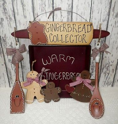 Lot Of 7 Primitive Country Wooden Gingerbread Decorations