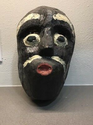 Vintage Ceremonial Negrito Dance Mask Guerrero Oaxaca Mexico Hand-Carved Folk
