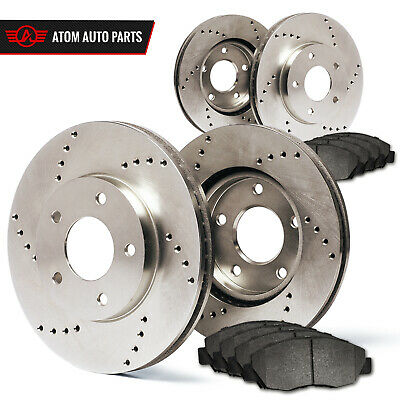 Front + Rear Rotors w/Metallic Pad Drilled Brakes RWD 300 Challenger Charger