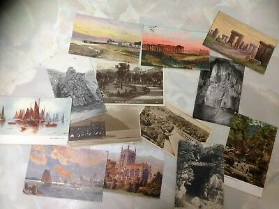 Collection of 13 Old Postcards. UK and Overseas. Many Over 100 Years Old.