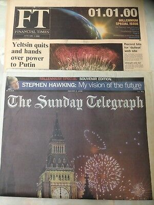 2 UK Newspapers Dated January 1st 2000. Sunday Telegraph & Financial Times.