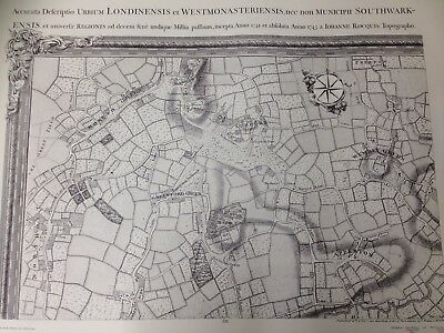 Large Print of a London Map First Published 1745. Wembley, Greenford. P13