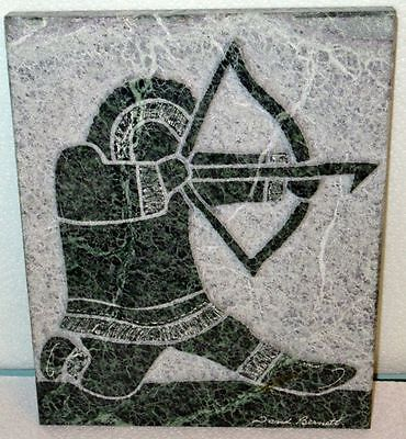 Inuit Art by David Bernett Original Green Marble Relief Sculpture