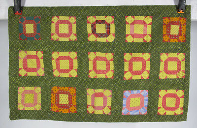 Antique c 1875 Pennsylvania Mennonite Quilted Green Yellow & Red Pillow Sham yqz
