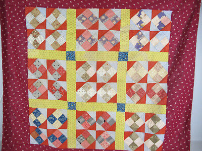 "Antique c 1880 Pennsylvania Mennonite 4-Patch Baby Crib Quilt Top 37"" x 38"" yqz"