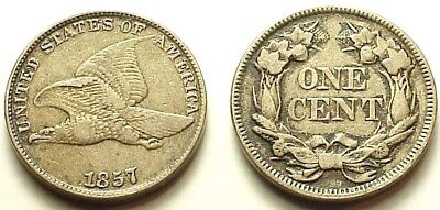 Xf/au 1857 Flying Eagle Cent- Strong Details! Eye Appeal!