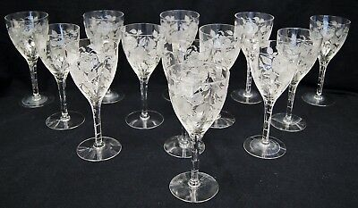 13 Antique MORGANTOWN American Beauty Rose Etched Glass Water Goblets Uncut Stem