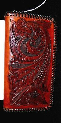 Custom Hand Carved and Tooled Cowhide Calf Skin Suede Leather by Aaron Wallet