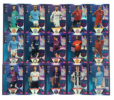2018 2019 TOPPS MATCH ATTAX UEFA CHAMPIONS LEAGUE - set of 15 Limited Edition