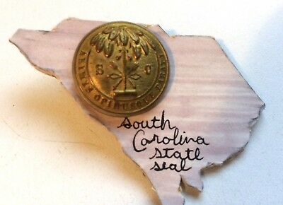 Non Dug Confederate Civil War South Carolina State Seal Button