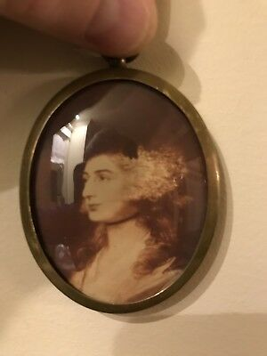 Antique Early 20th Century Brass Locket With Early Picture Of Georgian Lady